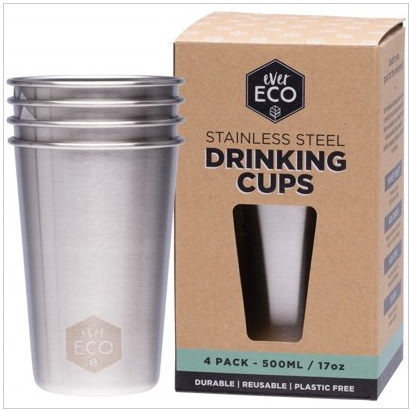 Ever Eco Stainless Steel Cups - 4 Pack