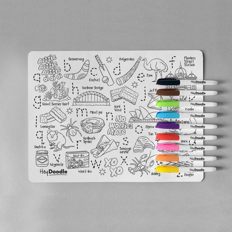 HeyDoodle Reusable Silicone Placemat - Aussie Icons