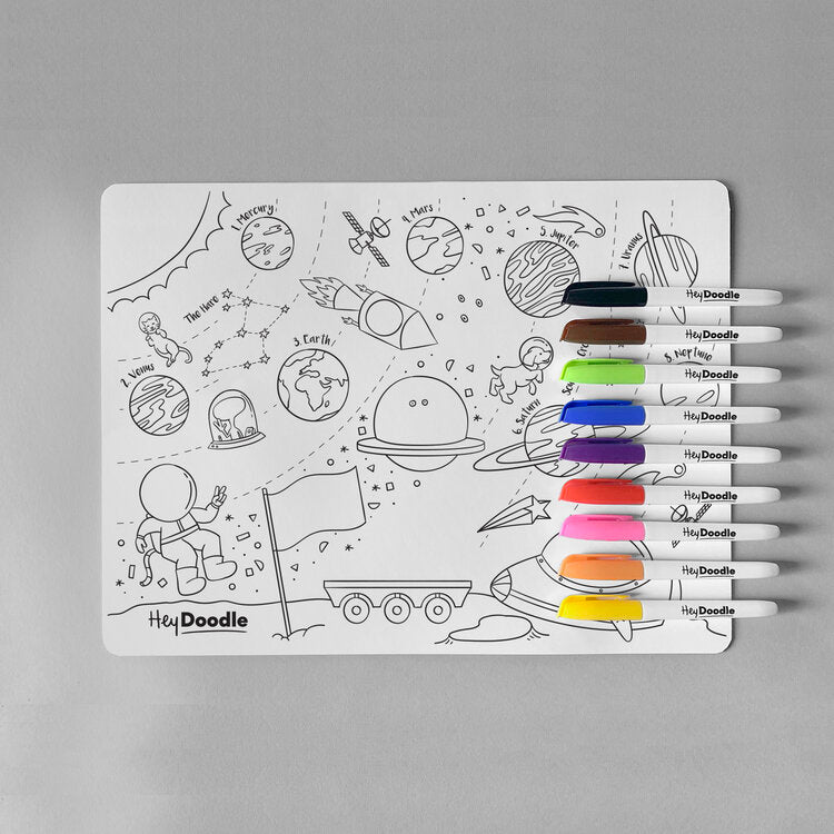 HeyDoodle Reusable Silicone Placemat - Outer Space