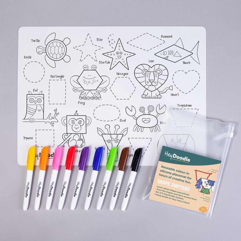 HeyDoodle Reusable Silicone Placemat - Shape Shifters