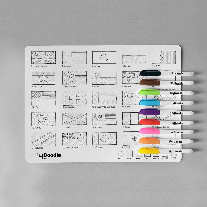HeyDoodle Reusable Silicone Placemat - World Countries