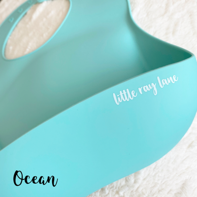 Little Ray Lane Silicone Bib - Ocean Aqua