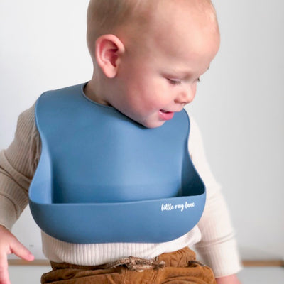 Little Ray Lane Silicone Bib - Steel Blue