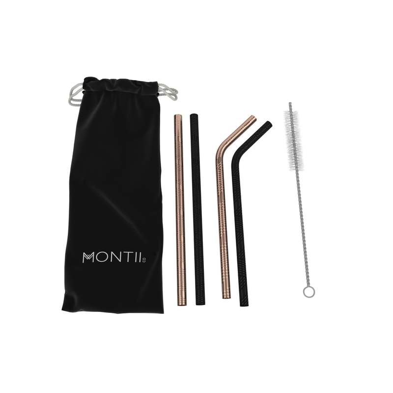 MontiiCo Geo Patterned Stainless Straw Sets