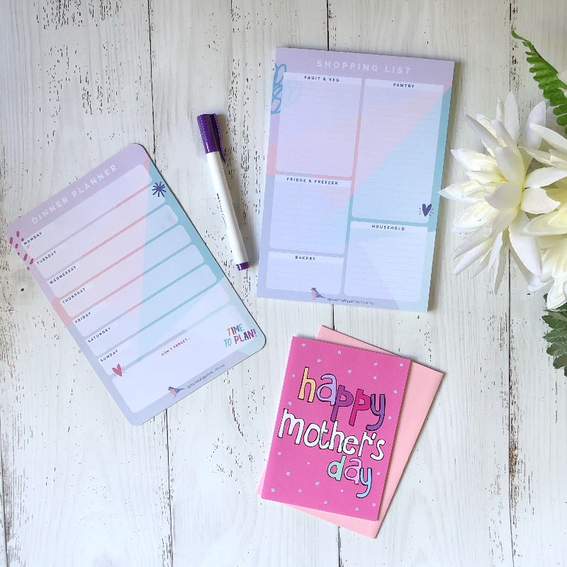 Mother's Day Set - Dinner Planner, Shopping List & Card