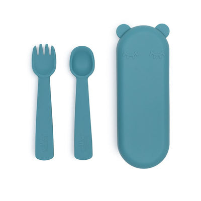 We Might Be Tiny Feedie Fork & Spoon Set - Blue Dusk