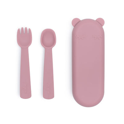 We Might Be Tiny Feedie Fork & Spoon Set - Dusty Rose