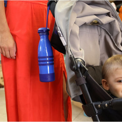 Yumbox Aqua Insulated Drink Bottle Ocean Blue on pram