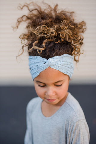 Girls'  Lace Turban in Gray