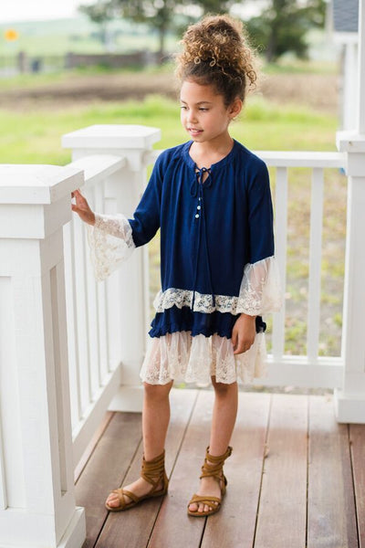 Kids Lace Trimmed Peasent Dress