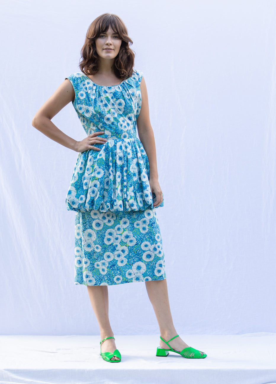 Floral Peplum 50's Dress