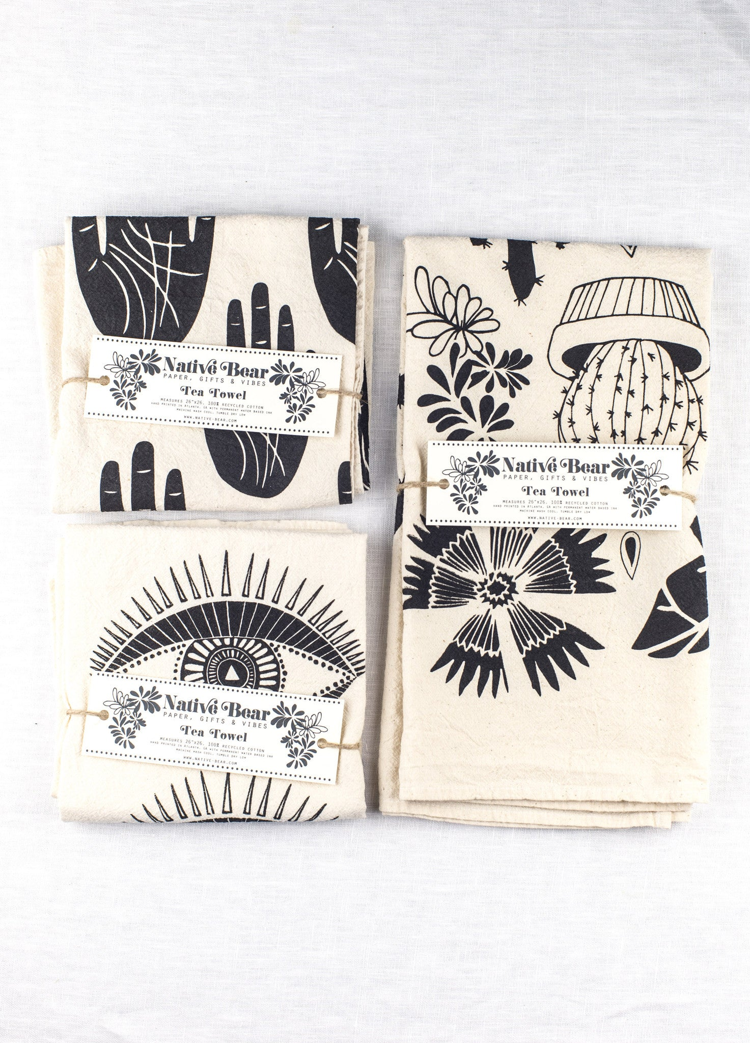 Native Bear Block Printed Tea Towels