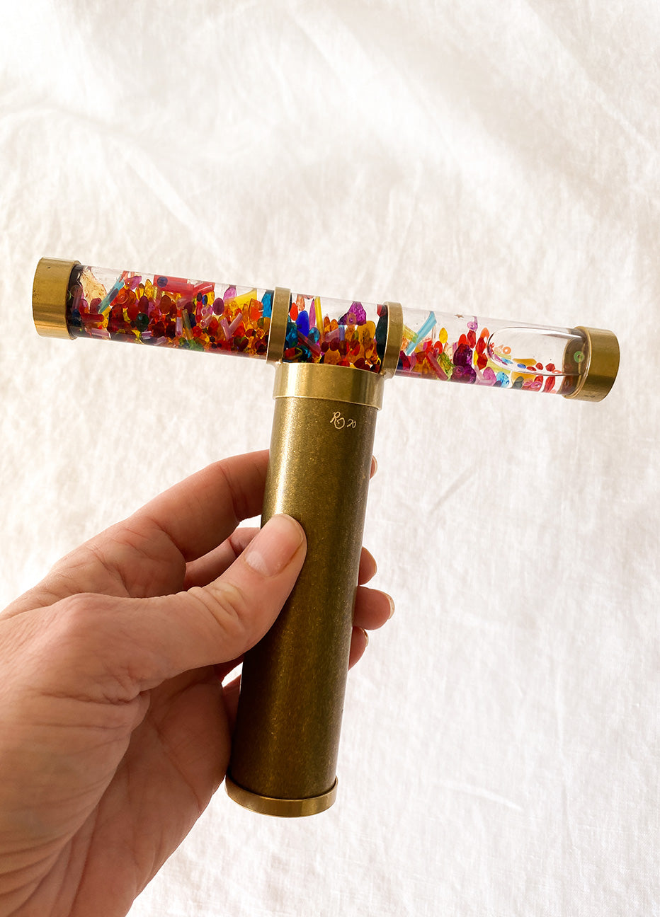 Brass Oil Kaleidoscopes with Wooden Stand