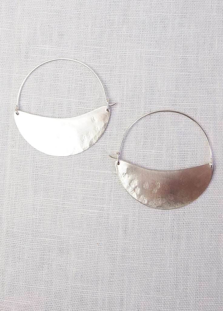 Lila Rice Crescent Hoops - Silver