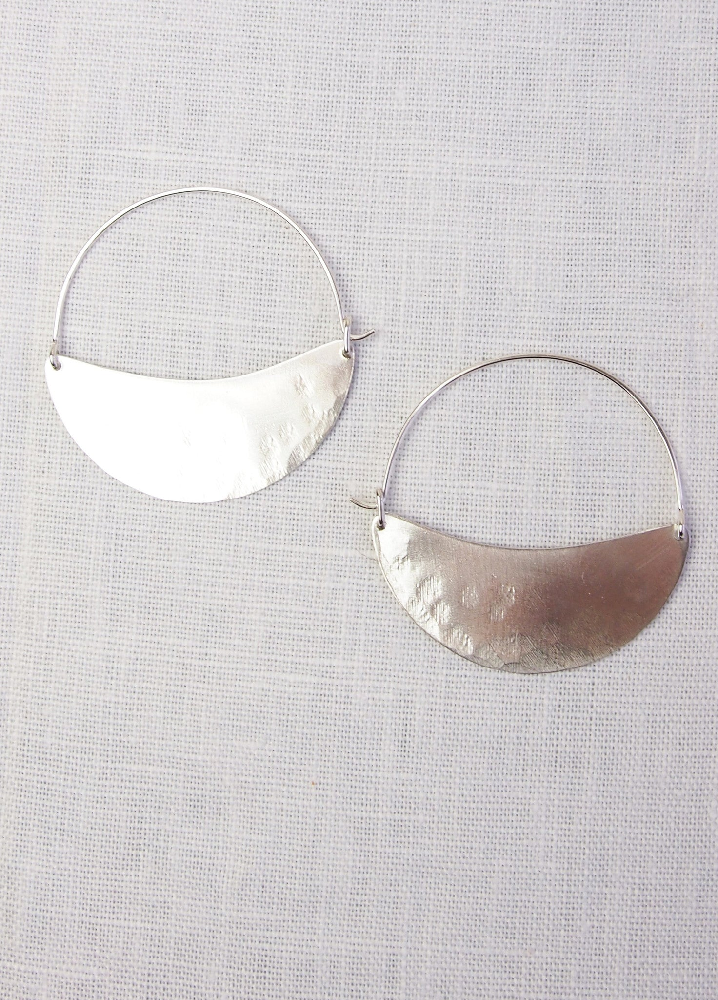 Lila Rice Crescent Hoops - Silver, 2 Sizes