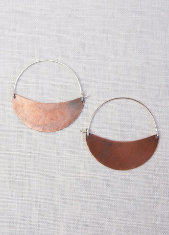Lila Rice Cresent Hoops - Copper