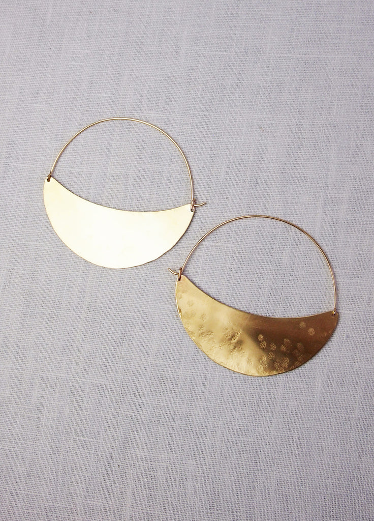 Lila Rice Crescent Hoops - Brass