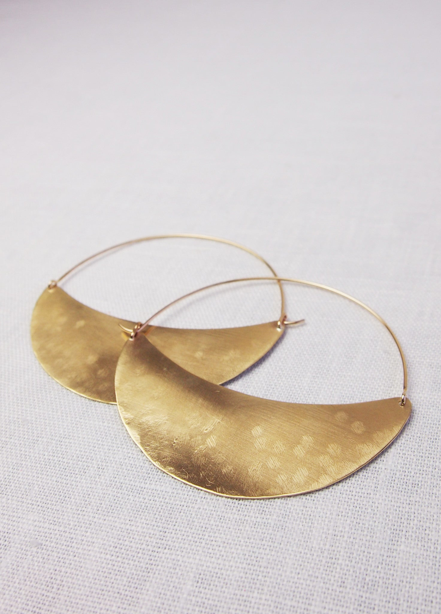 Lila Rice Crescent Hoops - Brass 2 Sizes