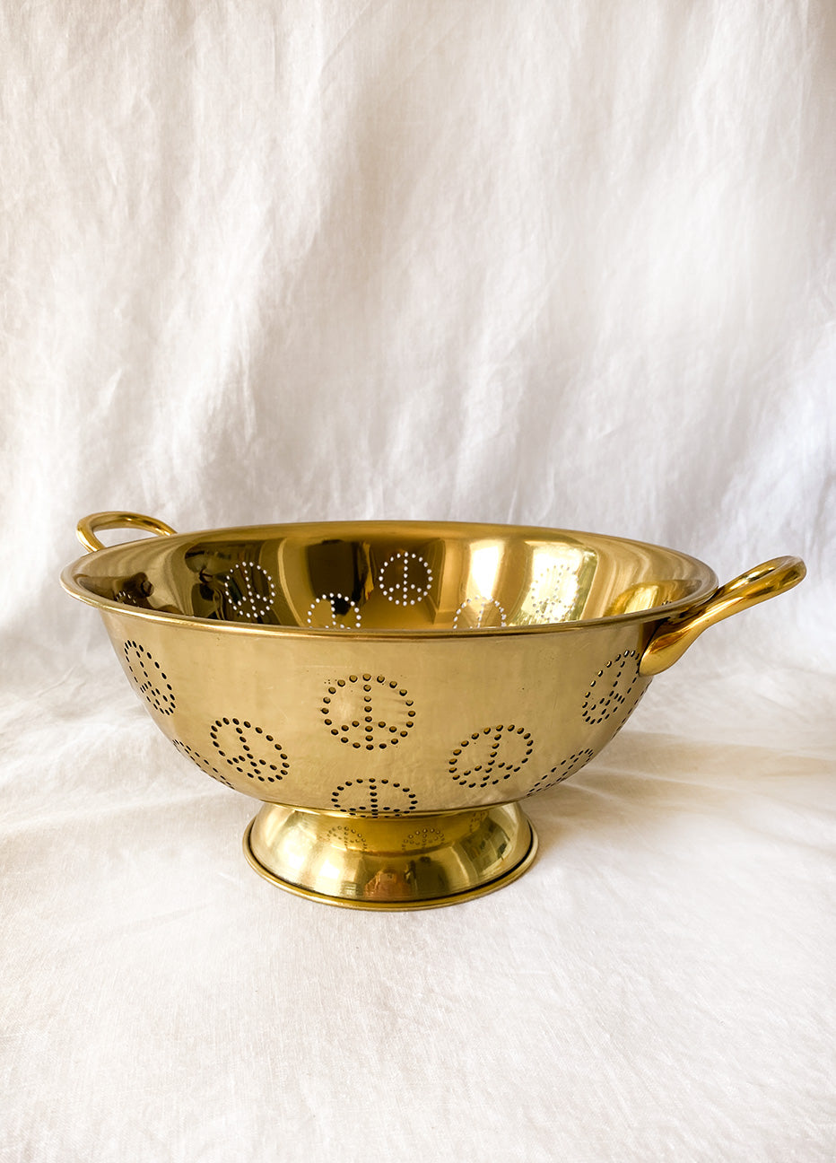 Brass Peace Sign Colander