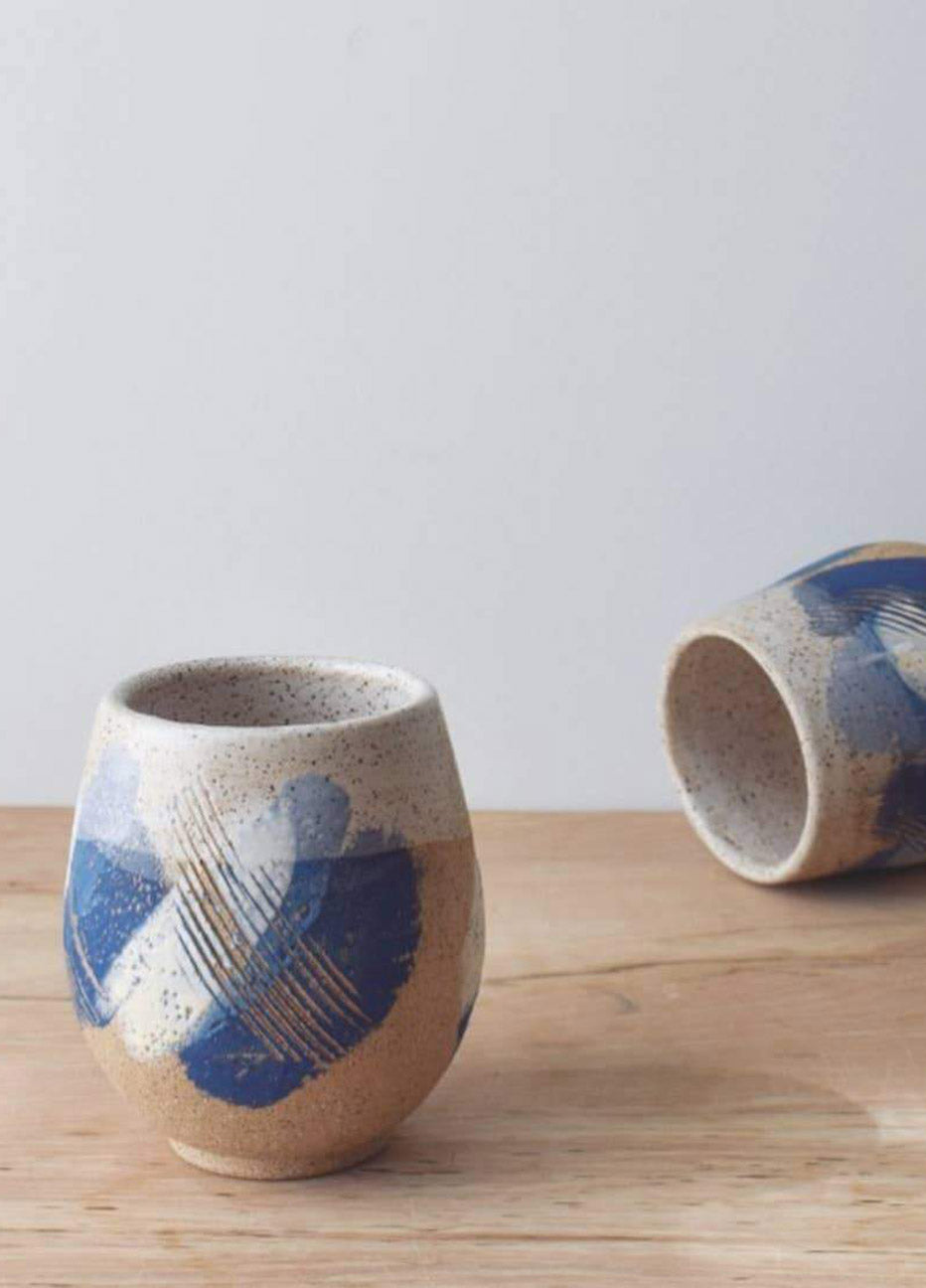 Wild Bower Studio Blue Strokes Wine Cup