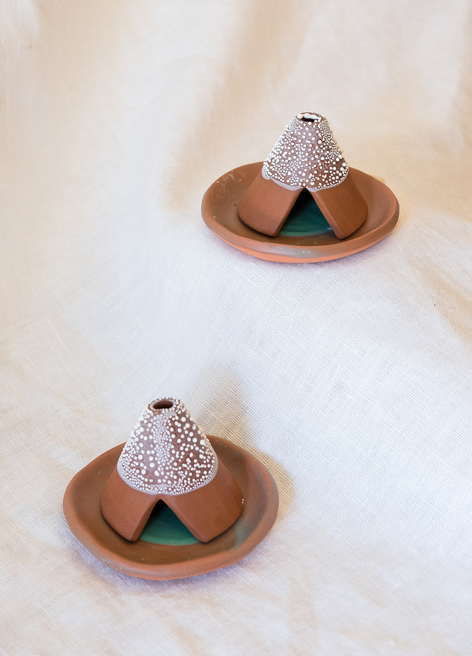Red Clay Teepee Incense Burner and Plate