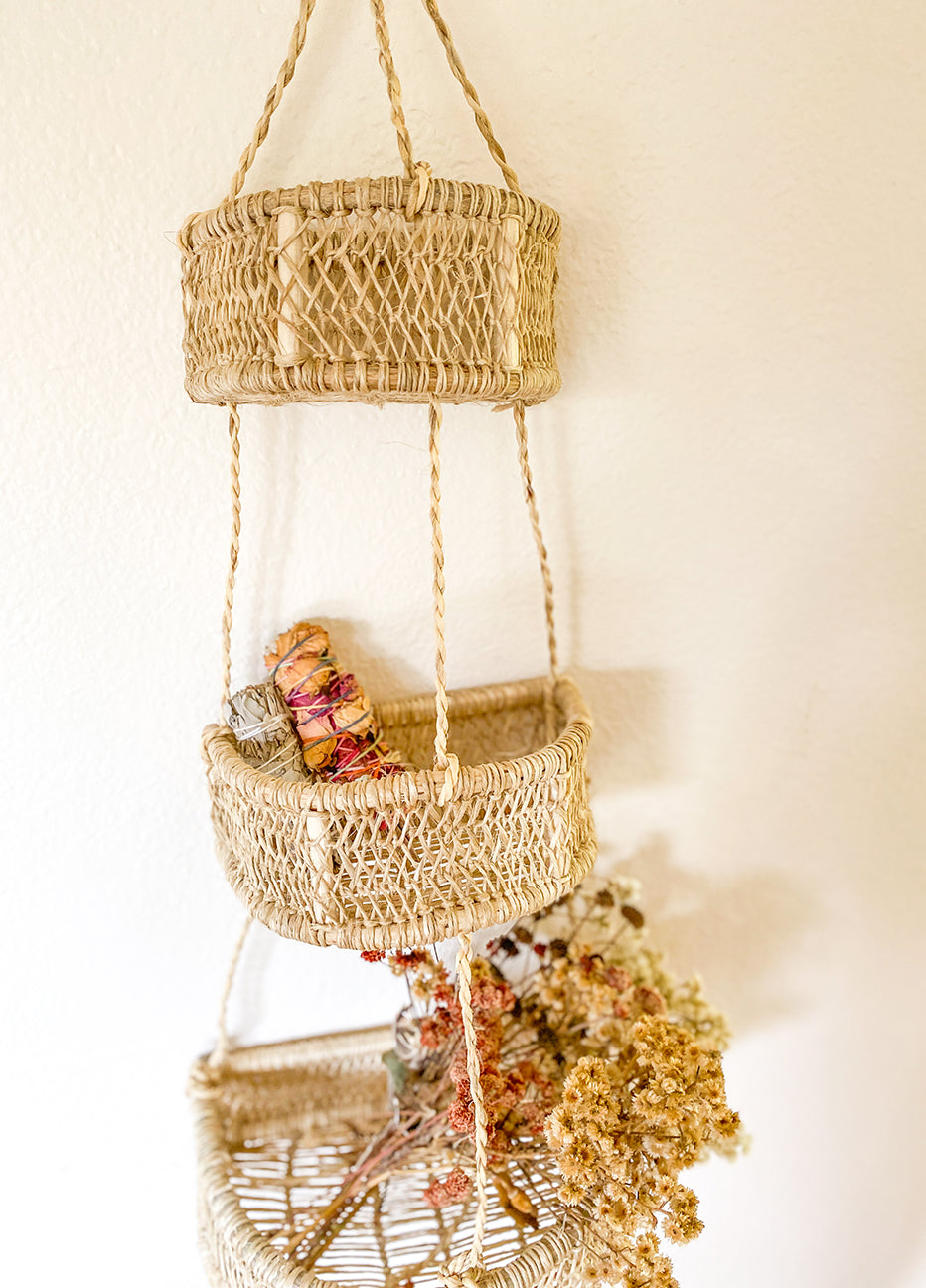 Luna Handwoven Tree Bark Hanging Basket