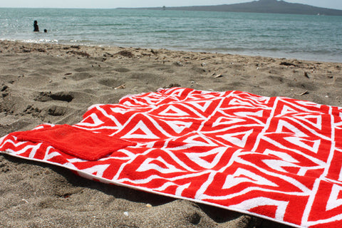 SOLD OUT RED GEOMETRIC Beach Towel with pocket NZD $45.00