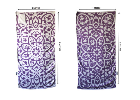 PURPLE FLORAL beach towel with pocket NZD $45.00