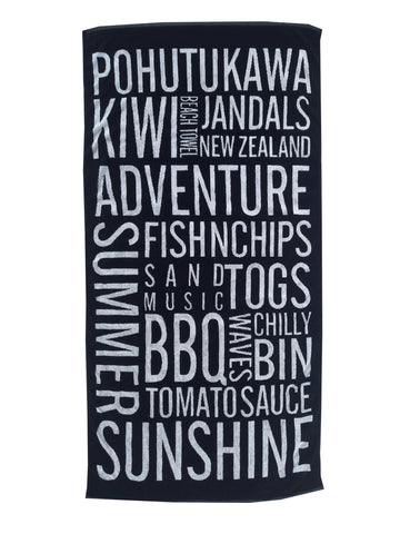 BLACK & WHITE SUMMER IN A TOWEL Beach Towel NZD $35.00