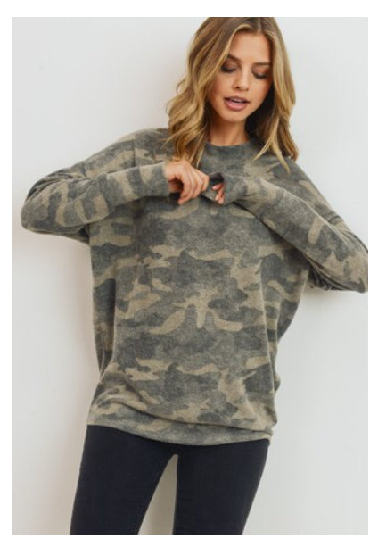 Kayla Camo Knit Top