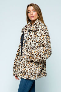Stacey Leopard Fur Jacket w/ Pockets