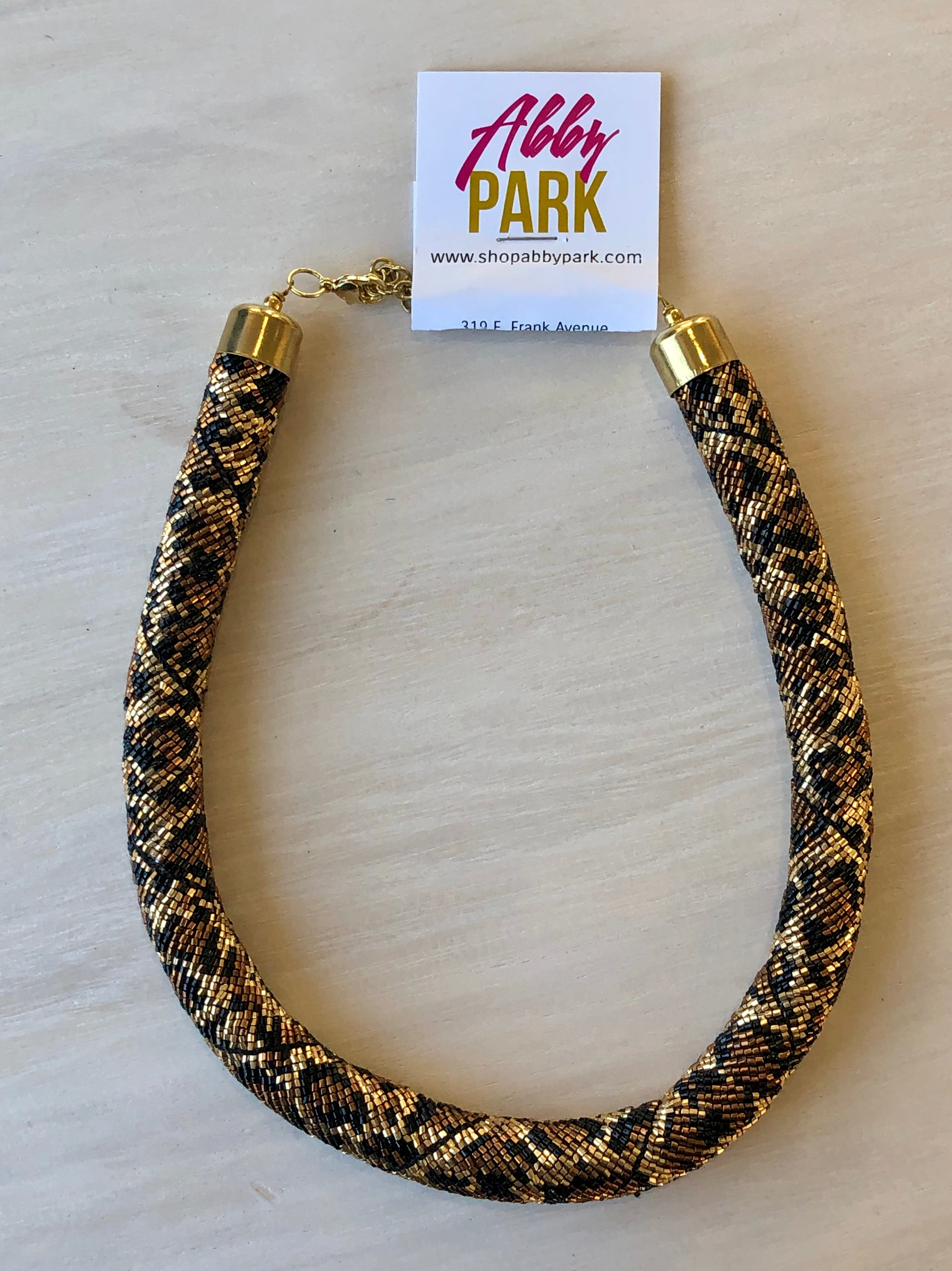 Leopard Beaded Collar Necklace