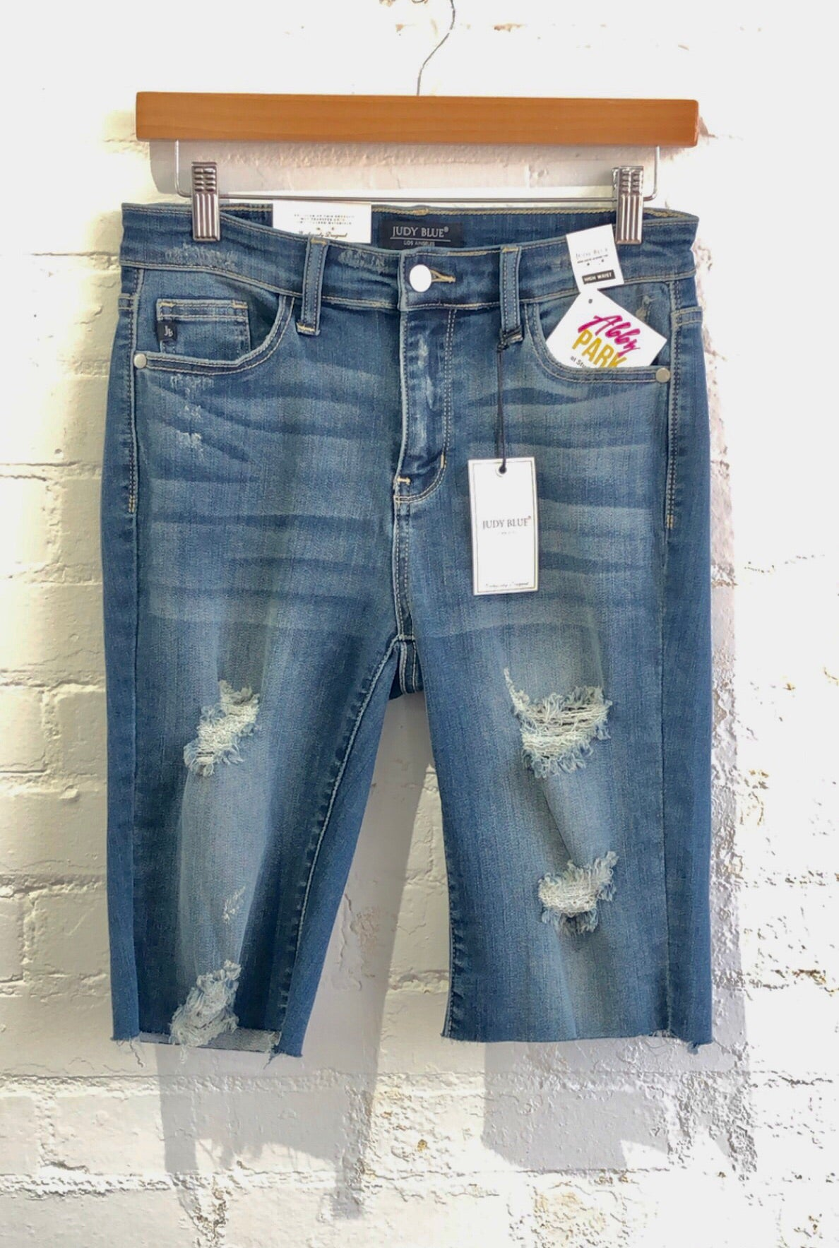 High Waisted Distressed Shorts, Long - Judy Blue 133R