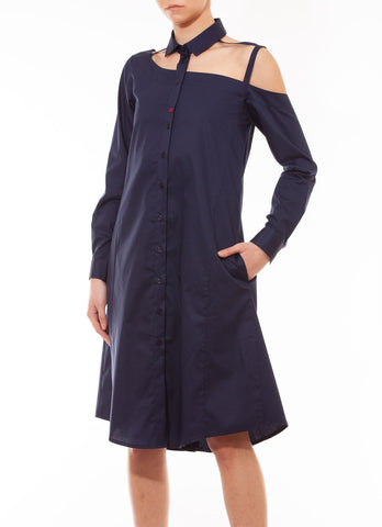 One shoulder shirtdress, navy blue