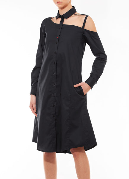 One shoulder shirtdress, black
