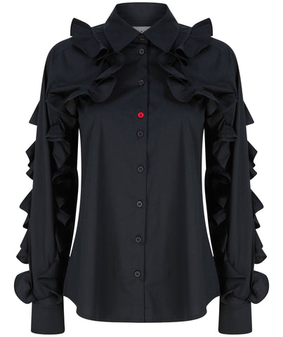 Ruffled sleeves shirt black talented company