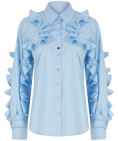 Ruffled sleeves shirt sky blue at talented company