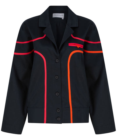 black jacket neon stripes