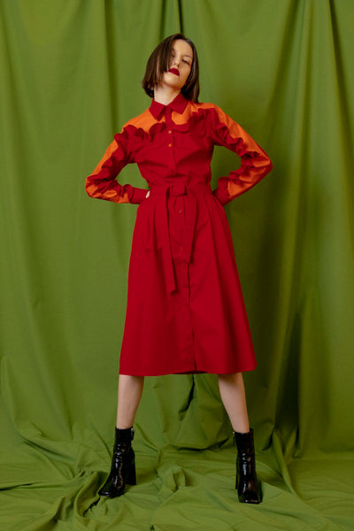 Red color midi ruffle dress at talented company