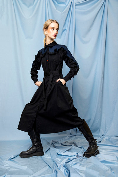 Black midi ruffle dress at talented company