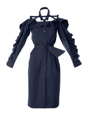Ruffle dress navy blue