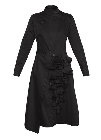 Asymmetric biker dress black