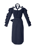 Talented ruffle dress navy blue