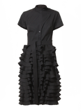 black midi ruffle dress by talented company