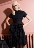 black ruffle midi dress at talented company