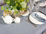 Linen striped tablecloth with ruffles - Velvet Valley