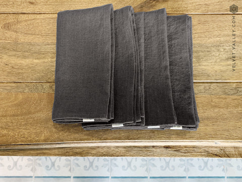 Linen dark charcoal grey napkin set: 4, 6, 8, 10, 12 napkins - Velvet Valley