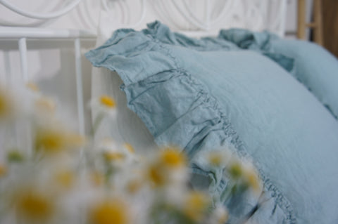 Linen duck egg blue pillow sham - Velvet Valley