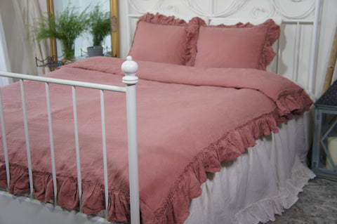 Linen wood rose duvet cover - Velvet Valley