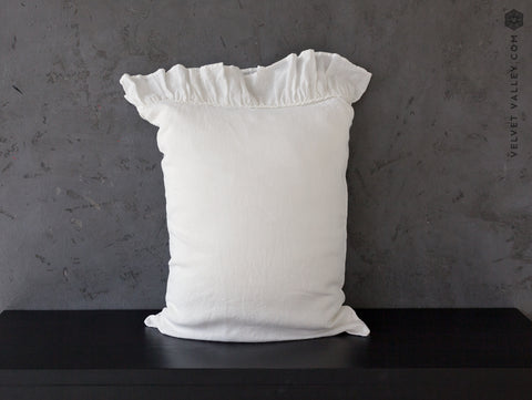 Optical white linen pillow sham - Velvet Valley